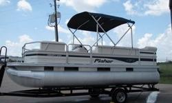 2007 FISHER LIBERTY 200 PONTOON BOAT . With room on board for 10 people, you can take all of your friends fishing and have fun for the weekend. You are viewing a 2007 FISHER LIBERTY 200 PONTOON BOAT WITH 90HP MERCURY MOTOR. The motor has been checked and