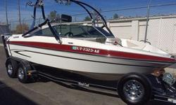 A 2 owner that boat has been stored year round indoors! Amazing condition and low hours for the year. Volvo Penta 5.0 fuel injected motor with 265hp! Airboom Tower, Roswell Tower Lights. Wakeboard, Ski, and Kneeboard Racks. Pergo Switch with Two