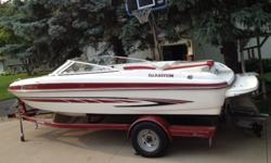 2007 Glastron GT205 BR - This boat is in great shape and only has 183 hours on the well maintained Volvo 5.0 Liter motor. Comes with Snap-in Carpet, Depth Finder, Hour Meter, AM/FM/CD Stereo, Spare Prop, and Custom Made Cover. Rides on a matched Glastron