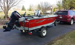 "2007 Lund 1600 Explorer with 2006 Evinrude Etec 60 HP outboard and trailer.8"" Bottom Line Tournament Master finder in backEagle finder in frontMinnkota pd55 in front with co pilot (also has foot control.2 live wells Jenson RadioMarine radioTrailer has"