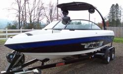 Loaded Malibu surf boat, triple auto fill ballast, Cruise control. Adjustable Wedge. Illusion wake board tower with racks, sound package with tower speakers, bimini top, Fiberglass swim platform. Extreme Malibu tandem axle trailer. Very nice boat. Only
