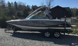 COMPLETELY NEW FACTORY INTERIOR IN 2013. DUAL AXLE MASTERCRAFT TRAILER W/SPARE TIRE, INDMAR MCX 350HP ENGINE W/ APPROX 450 HOURS, MC BOAT COVER, TOWER SPEAKERS AND LIGHTS, AMP, CD, ATTITUDE ADJUSTMENT PLATE, CRUISE CONTROL, TOWER MIRROR, BIMINI TOP, NEW