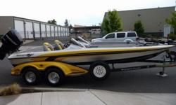 This 2007 Ranger Commanche Z21 Bass Boat is very very clean. It is powered by a Mercury OptiMax Pro XS Fuel Injected 250 HP Motor with ONLY 49 Hours!! It is equipped with a Trophy Plus 4 blade 25 pitch prop, Motorguide Digital 36 Volt Electric Motor, Hot