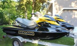 2 Beautiful 2007 Seadoo Rxp's 215 Horsepower machines. Very Fast!!2007 Double trailerMachines are in beautiful shape just got back from being detailed.Low HoursOne machine has 67 hours one has 93.Always maintained by seadoo dealer.Comes with 4 life