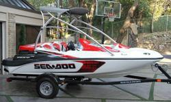 Type: Jet Engine type: Jet drive Use: Fresh water Length (feet): 15.0 Engine make: -- Primary fuel type: Gas Beam (feet): -- Engine model: 215 hp Fuel capacity (gallons): -- Hull material: Fiberglass Trailer: Included This Sea Doo speedster has only 7