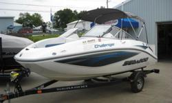 ,,,,,,,,2007 SEA DOO CHALLENGER 180 JET BOATROTAX 4 STROKE 215 HP ENGINEINCLUDES TRAILER25 HOURS ON THIS. It is powered by a 215 HP fuel injected Rotax 4 stroke engine with Super charger. The running lights work. The stereo CD works. All the gauges work.