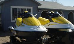 Pair of 2007 Sea Doo GTI SE Bombardier Jet Ski's one with 17 Hrs and the other with 18 Hrs. These Jet Ski's came out of storage and have not been ridden in a Long time. Gas was changed before they were started batteries have still maintained charge 2 days