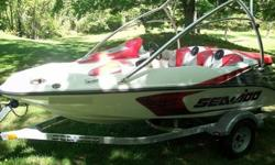 17 HOURS. Friends boat. Selling because it never gets used. Used maybe 6 times.Engine; Starts in a fraction of a second. Exceptionally quick! Supercharged engine. Hull; nicks from dock, no major blemishes. Very presentable. Options; Bimini Top. Boat Cover