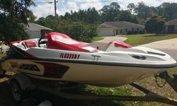 SeaDoo Speedster 155. The boat has about 63 hrs on it. This thing is a blast and is ready to hit the water for this season. Comes with the trailer and cover. This boat has seen some sun so it does have some fading but the upholstery is in great shape.When