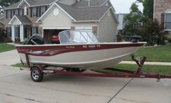 90 hp Mercury 4 stroke (40mph per gps), Hummingbird GPS/Down Imaging fish finder, 55lb Minnkota powerdrive with twin battery banks(one agm battery included). Livewell, spare tire with carrier, Berts track with rod holders, one manual down rigger with base