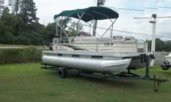 2007 Suntracker Bass Buggy 18 with a 2007 Mercury 25 hp 4 Stroke Motor and TrailerHas Bimini topWalk thru transomRear boarding ladderFiberglass console with windscreenDepth finderLive well2 movable fish seats on front with pedestal at rear of boat. Fish