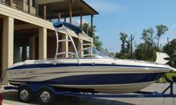 2007 TRACKER TAHOE Q7I MERCRUISER ALPHA V8 MPI. THE BOAT DOES COME WITH FACTORY TAHOE TOWER AND BEANIE TOP. BOAT ALSO HAS SNAP ON COVER FOR FRONT AND BACK THAT IS INCLUDED. ALSO INCLUDED IS TWO TABLES, AND A SNAP IN CARPET KIT. THE TRAILOR IS INCLUDED IN