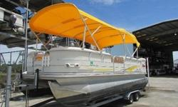 This is a great boat with many extras. It is powered by a 2007 Mercury 90hp engine. It has an ALL Aluminum deck!! Also with that it has GPS, VHF, Lowrance, stereo, dual switch battery, swim ladder, a double bimini top, playpen cover, quick release on the