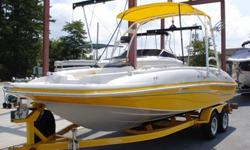 Here you go! Gorgeous 2007 Tahoe 215 21.5 foot deck boat with wake tower, 1 wake board rack, tower bimini, (2) pop in fishing seats, lots of built in coolers, fresh water system, sink, walk through transom, docking lights, tandem trailer with brakes,