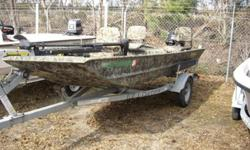 There's a roomy gun box, elevated front deck, bow storage compartment and Lock-Track extruded gunwales that accept a wide array of ingeniously-designed optional equipment, including a dog boarding ladder, tree clamp, Avery duck blind brackets, even a