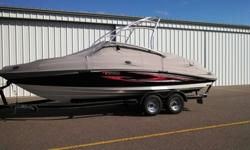 This boat has been very well maintained. Annual service, always stored indoors and never used in salt water. Comes with high speed highway cover and all tables and accessories. It also comes with a Bimini top for some shade on those hot summer days. Very