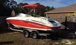 This is a second owner boat. He purchased it with 120 hours and engine analyzers should reveal less than 200 hours today (subject to increase as the owner enjoys the boat). He is selling it because he does not have time to enjoy it. It is currently stored