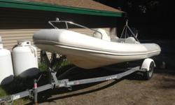 2007 zodiac yacht line yl470 dl inflatable rib with a 75 etec and venture trailer with new led lighting . Boat has 65 original hours. i have ordered new cushions for fuel tank and seat fwd of console. bow cushion also included. if they are not done by
