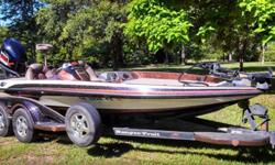 Stock Number: 702305. Garage kept, Electronics HDS7 recessed in console, 520c recessed in the bow, hot foot, single console, (extra powerteck prop, minnkota prop, bow light, and livewell valve), 3 new batteries, new trailer brakes, new trailer tires,