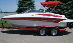 2008 Crownline 200 LS with only 92 low hours on it. Crownline is the Cadillac of boats and this red rocket is Powered by a beefy 5 liter Mercruiser V8, Alpha 1 drive, and Mercury High 5 Stainless 5 blade propeller. This boat tears across the water at