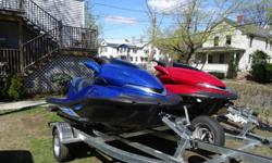 """Both Jet ski have: NEW AGM BatteryNEW Traction Mats Foot Pads """"BlackTip"""" NEW Seat Cover """"BlackTip"""" with """"Non slip""""NEW Bumpers NEW Double Trailer 2014 Load Rite WV2450W (Galvanized Welded frames + LED Lighting) + used spare tireKawasaki original covers for"""