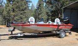 """LIKE NEW!SPECIAL OPTIONS Standard Aluminum prop upgraded to STAINLESS STEEL Prop TrailStar® Drive-On Trailer w/bolted-on side railsX47TX Fish Finding and Depth Sounding Sonar12 Volt, 43 lb. Thrust, 42"""" Shaft, Foot Controlled Trolling Motor by"""