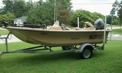 Length (feet): 16.0 Engine make: Yamaha Primary fuel type: Gas Engine model: F50TLR Fuel capacity (gallons): 11-20 Hull material: Fiberglass Trailer: Included The boat is 16 foot long with a single side console driver cockpit. It is a doe skin color. It