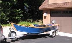 """2008 Custom Wooden Power Drifter, RIVER BOAT2008 Custom Wooden Power Drifter. Ultimate White/Norfork river boat. Boat is in """"mint"""" condition. Comes with trailer, oars, oar locks, 2008 15hp Electric Start Honda 4 Stroke ( less than 20 hours), starter"""