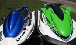 2008 - 250x SuperCharged. 250 horsepower. ONLY 50 hours! Includes Kawasaki cover.2007 - STX-12. 125 horsepower. 95 hours. Includes Kawasaki cover. Both skis are 4 cyl., four stroke engines. Minor scrapes from docking. Never left in water. Freshwater use