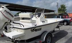Type: Center console .Engine type: Single outboard .Length (feet): 18.0 .Engine make: Evinrude .Primary fuel type: Gas .Beam (feet): 8.0 .Engine model: E115DPXSC .Fuel capacity (gallons): 21-30 .Hull material: Fiberglass .Trailer: Included .It is the