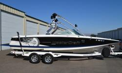 """Loaded 2008 model Mastercraft X45 wakeboard boat with upgraded 400 hp LY6 engine, hydraulic steering, stainless bimini, mooring/tow boat cover, tower mirror, transom remote, ipod interface, dual JBL stainless steel tower speakers with lights, 12"""""""
