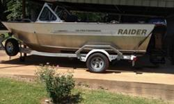 2008 Raider 185 Pro Fisherman. This is a very well built boat with an all welded aluminum hull. More specs and info can be found on the Raider Boats website. This is a great size package that fishes like a much bigger boat. It is powered by a 2008 115