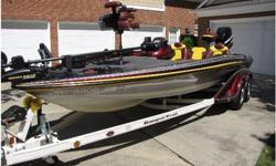 ONLY 87 hours , Heavy Duty Ranger cover and motor cover.This is the largest and widest Ranger made and is super smooth in rough water. This is the MERCEDEZ of bass boats.This boat was custom ordered by myself and has been lightly used in both total hours