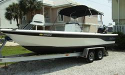 2008 Sea Quest 2100PB center console. She is powered by 2008 Suzuki 175HP 4 stroke. This boat is in average condition for her age. The LOA on this boat is 23?2?. It has a very wide 8?6? beam. It is a very stable fishing platform. This is a well rigged