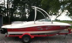 2008 Sea Ray 185 Sport runabout..4.3L Mercruiser, white with red accents, snap in carpet, swing away tongue trailer, Clarion CD player with 4 speakers(factory installed), wake board tower, very low hours..Boat is in like new condition..winterized every