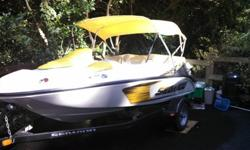 2008 SeaDoo speedster in great condition with less than 40 hours on the engine. Excellent shape and includes bimini top, full cover, trailer, life jackets, bumpers, bow and stern lines, owners manual, and tool kit. Jensen Marine audio system w/ CD player.