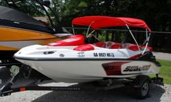 This 2008 15 foot Seadoo Speedster 150 is in awesome condition inside and out. It has been fully inspected and compression tested. It has not even been washed in the pics below. The boat comes with a factory Seadoo trailer, bimini top and cover. It is