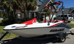 2008 Seadoo Speedster 150 with the 215 Supercharged engine. This boat only has 33 hours on it. It has a folding wake tower, seadoo trailer, seadoo cover, stereo with amp and remote, depth/fish finder, and plenty of dry storage. The boat is in excellent