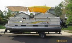 Powered by a Mercury® 40 hp ELPT BigFoot outboard (upgradable to 60 horses), you?ll enjoy a smooth ride to and from your destination. And the 24 in. high-buoyancy multichambered pontoons feature wave deflectors to keep your ride dry. Packed with quality,