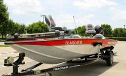 I'LL RESPOND ONLY THROUGH PHONE SO PLEASE LEAVE ME YOUR NUMBER. THANKS! VERY NICE 2008 BASS TRACKER 175 PRO TEAM TXW ALL WELDED ALUMINUM BASS BOAT WITH 60 HORSE POWER MERCURY MARINE FOUR STORKE ENGINE AND FACTORY MATCHED TRAILER, NO RESERVE. CLEAN CLEAR