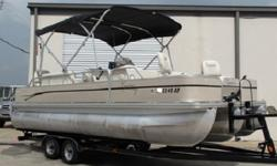 This 22-foot pontoon is rated for up to 225 HP and fitted out with all the amenities that true sportsmen want most, including a four-point fishing layout, pro-style pedestal fishing chairs, easy-to-reach rod holders and a 50-gallon shad tank and filter.