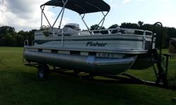 Double pontoon with Trail Star trailer. 90HP ELPT Mercury 4 stroke outboard motor, room for 10, 3 ski vests, 5 life vests, throw cushion, tube, kneeboard, ski ropes, ski harness, pop up changing room, anchor, removeable table, sink, fishing pole storage,