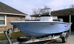 This is a 2009 PRO LITE center console made by PRO-LINE boats that is 17 ft 4inches long, powered by a 2009 YAMAHA 115 2 stroke sitting on a 2009 Continental trailer. It is as close to new as you can get without paying for a new one. New tires on trailer