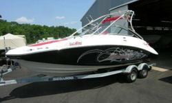 Rigged with Twin 255 Rotax Engines withGood Compression. Includes a Galvanized Sea Doo Tandem Axel Trailer. Also Included: Ballast Tanks Bimini Wake Tower with Twin Board Racks AM/FM/CD Player Depth Finder Stage? Set. Bar? Raised. It?s show time. The 230
