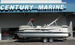 The Sun Tracker® Party Barge® 25 I/O Regency Edition pontoon combines upscale features with luxurious design to redefine elegance. This boat is in Immaculate condition Regency Edition 30 gallon gas tank Mercruiser 3.0L 135HP TKS Depth Finder Changing room