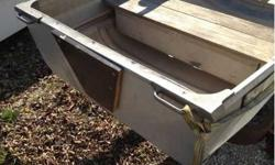 Very solid construction good seats. I will sell it with the trailer that it sitting on for 300. Or by itself for 200. See King brandGood solid transom14 ft long and about 4 feet wide. It does have 1 patch in the bottom. I was told it does not leak but I