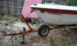 this trailer has great tires,jack w/a dolly wheel and a good hitch.You can call me at 317 788 4035 and this is a cash in hand deal.I have a good title but will be a late fee and theexpense of transfer is yours.there is a old speed boat on it which I will