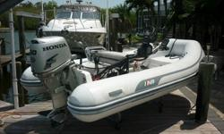 2010 AB inflatable dinghy with a 30HP Honda. Both are 2010 models. Euro Helm and Depth Finder. Bilge Pump, oars, pump, anchor, ladder(not shown), and bra cover for tubes(not shown). Also includes a 2000lb piling mounted davit, a dock cradle, and a
