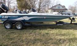 2010 Nitro Z-8 Bass boat for sale. Optic-max 225 H.P.. Less than 100 hours on motor. Upgraded electronics, plenty of storage and room for rods and accessories. Blue and white. Trolling motor is an 84lb. motor guide. Have an extra prop. Has Nitro tamdem