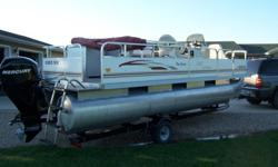 2010 Palm Beach Fish Master 20ft pontoon with 60hp Mercury 4 stroke EFI bigfoot motor. This has many extras including a porta poti room. fewer than 50hrs always stored indoors in heated shop and is well cared for and clean, also has new water